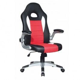 Kancelářské křeslo, ekokůže černá / ekokůže červená, MARVIN