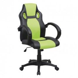 Kancelářské křeslo, ekokůže černá / ekokůže zelená, LESTER