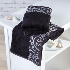 Bambusové ručníky Granada černé sada 2 kusů 50 x 100 cm
