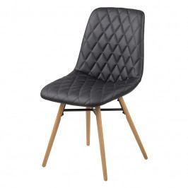 Jídelní židle s čalouněním v černé ekokůži na dřevěné konstrukci SET 2 ks DO138