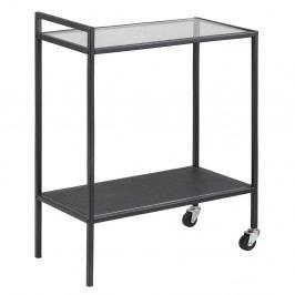 Servírovací stolek s černou kovovou konstrukcí na kolečkách DO103