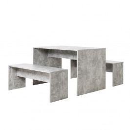 Jídelní stůl s 2 lavicemi v dekoru pohledový beton DO212