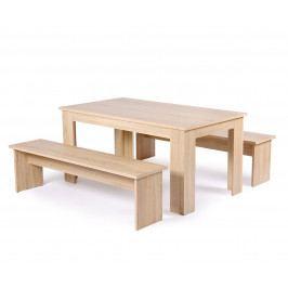Jídelní stůl 140 cm s 2 lavicemi v dekoru dub sonoma DO215