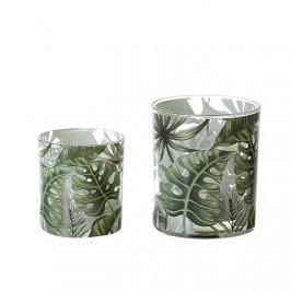 Čajový svícen skleněný Palm Leaf, 7,5 cm