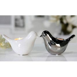 Čajový svícen keramický Bird, 16 cm, bílá
