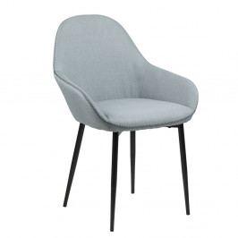 Jídelní židle s čalouněním z látky v barvě dusty green s černou podnoží SET 2 ks DO172