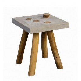 Konferenční / odkládací stolek Quinn, 40 cm, teak/beton