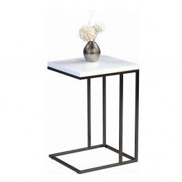 Odkládací stolek Ragnar, 43 cm, bílá/nerez