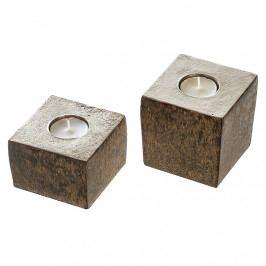 Čajový svícen hliníkový Dakar, 9 cm, zlatohnědá