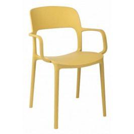 Plastová jídelní židle v olivové barvě s područkami DO116