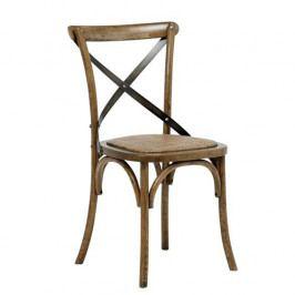 Jídelní židle s antik mořením a s ratanovým sedákem SET 2 ks DO204