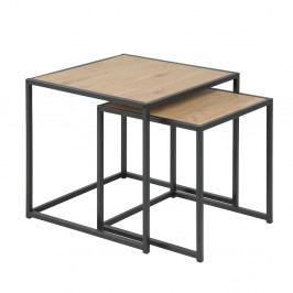 Konferenční stolky v dekoru dub sonoma s černou kovovou konstrukcí SET 2 ks DO103