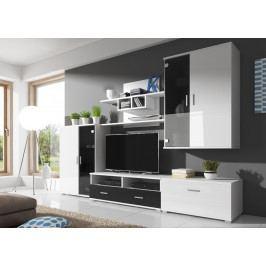 Obývací stěna v bílém lesku s černým matem a s korpusem v bílé matné barvě KN1111