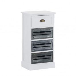 Malá rustikální komoda se 4 zásuvkami v bílé a šedé barvě DO090