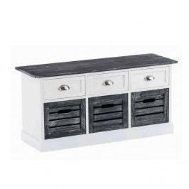 Rustikální lavice 104 cm s úložným prostorem v šedé a bílé barvě DO090
