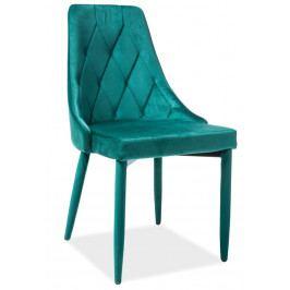 Jídelní židle čalouněná sametovou látkou v zelené barvě KN398