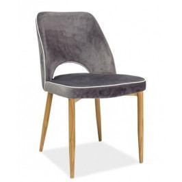 Jídelní čalouněná židle v šedé barvě na kovové konstrukci v dekoru dub KN680