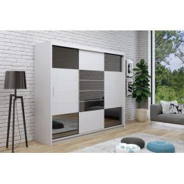 Šatní skříň 250 cm s posuvnými dveřmi v bílé barvě se zrcadly v barvě grafit a s bílým korpusem typ 2 KN1113