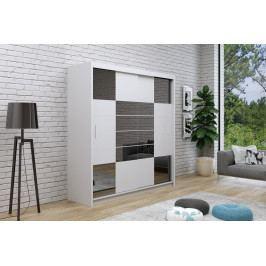 Šatní skříň 203 cm s posuvnými dveřmi v bílé barvě se zrcadly v barvě grafit a s bílým korpusem typ 2 KN1113