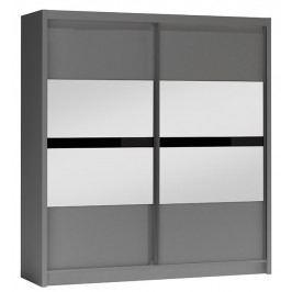 Šatní skříň 203 cm s posuvnými dveřmi v šedé barvě grafit se zrcadlem KN1105