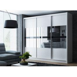 Šatní skříň 250 cm s posuvnými dveřmi v bílé barvě se zrcadlem KN1105