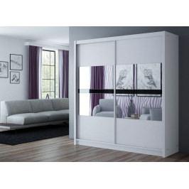 Šatní skříň 203 cm s posuvnými dveřmi v bílé barvě se zrcadlem KN1105