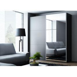 Šatní skříň 200 cm s posuvnými dveřmi v černé barvě se zrcadlem a černým korpusem KN1106