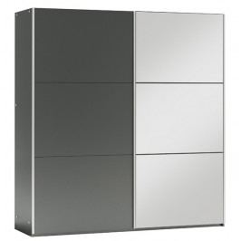 Šatní skříň 200 cm s posuvnými dveřmi v barvě grafit se zrcadlem a korpusem grafit KN1106