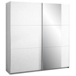 Šatní skříň 200 cm s posuvnými dveřmi v bílé barvě se zrcadlem a bílým korpusem KN1107