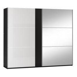 Šatní skříň 250 cm s posuvnými dveřmi v bílém lesku a černé barvě se zrcadlem KN1102