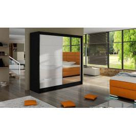 Šatní skříň 180 cm s posuvnými dveřmi se zrcadlem a skly v bílé barvě s černým korpusem typ V KN316