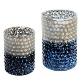 Svícen skleněný Lacuna, 15 cm, modrá
