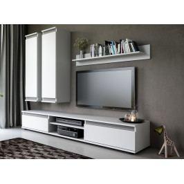 Obývací stěna v bílé barvě v kombinaci se šedou lesklou barvou KN1099