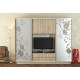 Praktická TV stěna v dekoru dub sonoma se šatní skříní s pískovými zrcadly KN1126
