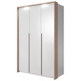 Šatní skříň 140 cm v bílé matné barvě s dekorační lištou v dekoru dub sonoma s LED osvětlením a bílým korpusem KN1110