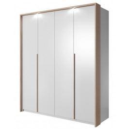 Šatní skříň 185 cm v bílé matné barvě s dekorační lištou v dekoru dub sonoma s LED osvětlením a bílým korpusem KN1110