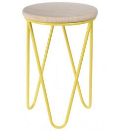 Odkládací stolek 30x30 cm s dřevěnou deskou na žluté podnoži DO109