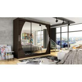 Šatní skříň 250 cm s posuvnými dveřmi se zrcadly v čokoládové barvě typ V KN1122
