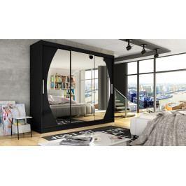 Šatní skříň 250 cm s posuvnými dveřmi se zrcadly v černé matné barvě typ V KN1122
