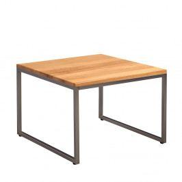 Vysoký konferenční stolek 60x60 cm v dekoru dub divoký s nerezovou kovovou kostrukcí DO107