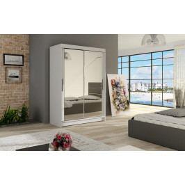Šatní skříň 120 cm s posuvnými dveřmi se zrcadlem v bílé barvě typ VII KN1135
