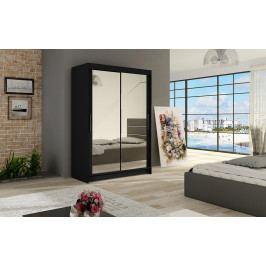 Šatní skříň 120 cm s posuvnými dveřmi se zrcadlem v černé barvě typ VII KN1135