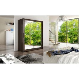 Šatní skříň 150 cm s posuvnými dveřmi se zrcadlem v barvě choco typ XI KN1137
