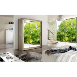 Šatní skříň 150 cm s posuvnými dveřmi se zrcadlem v dekoru dub sonoma typ XI KN1137