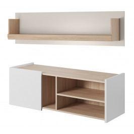Televizní stolek 125x42 cm se závěsnou policí 124x42 cm v bílé matné barvě a v dekoru dub jantar KN1139