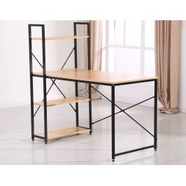 Stůl s regálem v dekoru dub sonoma s černou kovovou konstrukcí KN1155