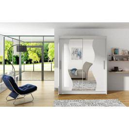 Šatní skříň 150 cm s posuvnými dveřmi se zrcadly v bílé matné barvě typ S KN1150