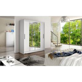 Šatní skříň 150 cm s posuvnými dveřmi se zrcadlem v bílé matné barvě typ II KN1149