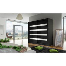 Šatní skříň 180 cm s posuvnými dveřmi v černé barvě s bílými skly a černým korpusem typ XI KN1152