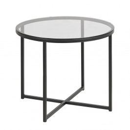 Kulatý skleněný konferenční stolek 55 cm s černou kovovou podnoží DO048